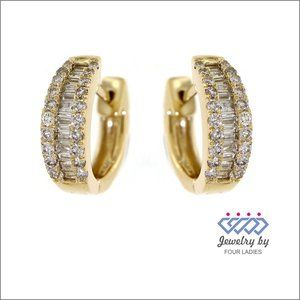 Real Baguette Diamond Fancy Earrings Yellow Gold